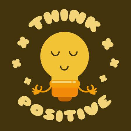 Think Positive   Illustration vector graphic kawaii doodle cartoon character of cute bulb lamp doing meditation pose.