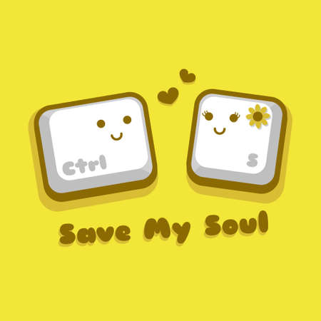 Save My Soul   Illustration vector graphic cartoon character of cute control s button in doodle kawaii style, falling in love.