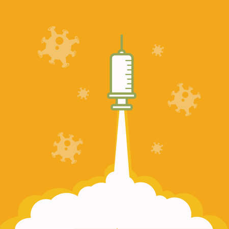 Vaccine Launcher   Illustration vector graphic of vaccine injection launch to the sky looks like rocket. Illustration