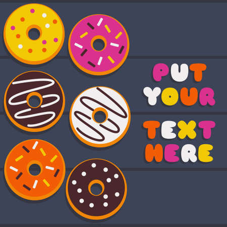 Illustration vector graphic of donuts in multiple flavor. Suitable for culinary background asset.