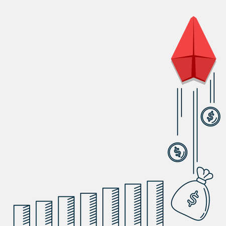 Illustration vector graphic of red paper plane, showing business strategy and business opportunity on white background with copy space area.
