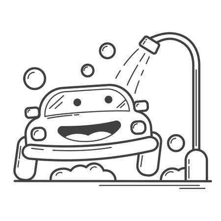 Illustration vector graphic cartoon character of little car take a bath using shower in coloring book style. Suitable for children book. Illustration