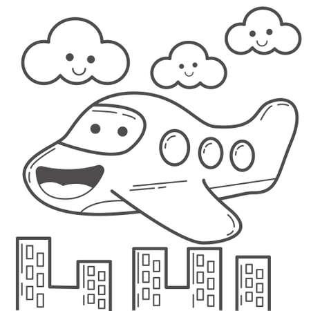 Coloring Book Asset   Cute Air Plane   Suitable for children coloring book content.