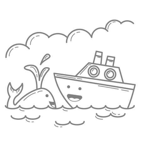 Illustration vector graphic cartoon character of Whale and Ship in outline doodle art kawaii style. Suitable for children coloring book.
