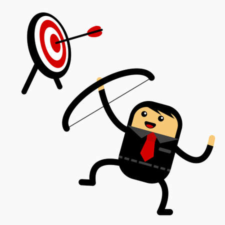 Illustration vector graphic cartoon character of flat cute chibi kawaii businessman shot a target. Suitable for business content.
