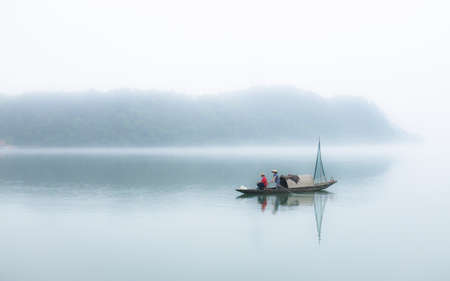 early morning: Early morning boat on the XinAn River