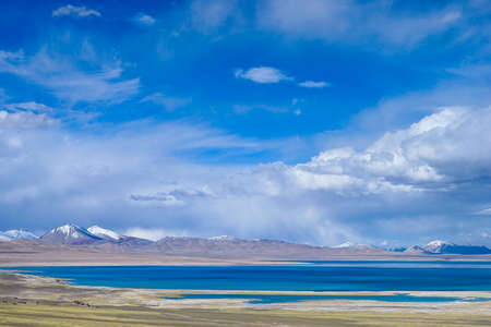 Nature scenery landscape view of a snow mountain in Tibet Stock Photo