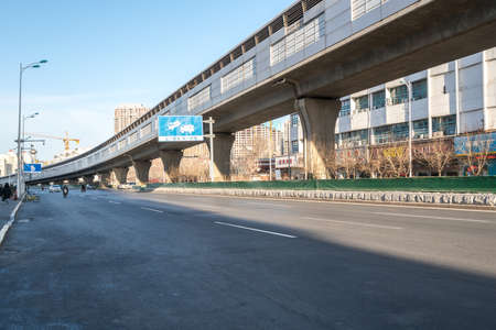 Tianjin Metro railway with highway road