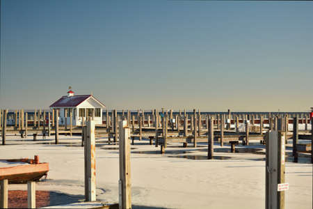 michigan snow: An empty marina is shown in winter