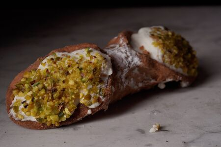 Close up of a Sicilian cannolo Imagens