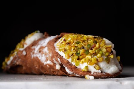 Close up of a Sicilian cannolo Banco de Imagens