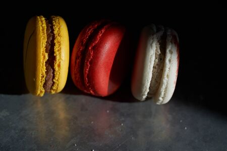 Macarons on a metallic background