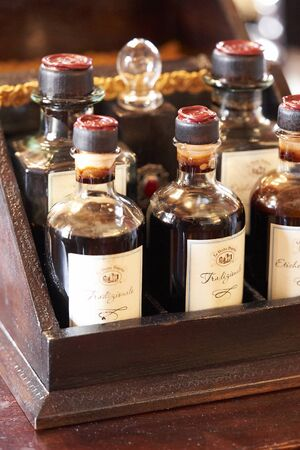Some bottles with balsamic vinegar