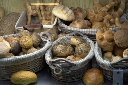 baskets with different varieties of bread