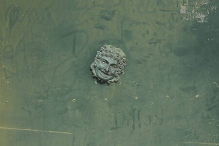 decorative mask on a green wall Imagens