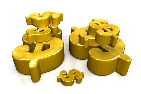 Golden dollar signs of various sizes on white background Stock Photo