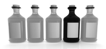 Light gray and a black bottle on a white background