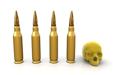 Four bullets and a skull on white background. War/conflict theme. Stock Photo - 4432797