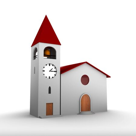 church 3d: Render of a 3D church on white background