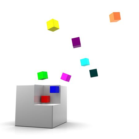 dissolved: Gray cube being dissolved onto smaller colorful cubes. On white background Stock Photo