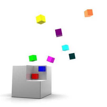 dissolved: Gray cubo essere sciolto su piccoli cubi colorati. Su sfondo bianco Archivio Fotografico