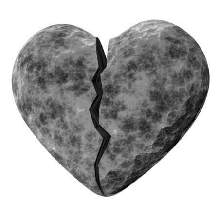 Heart made of stone on white background Stock Photo