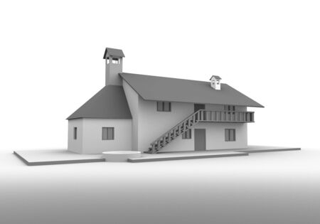 3D render of a house on the white background Stock Photo - 4390324