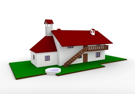 3D render of a house on the white background Stock Photo - 4390325