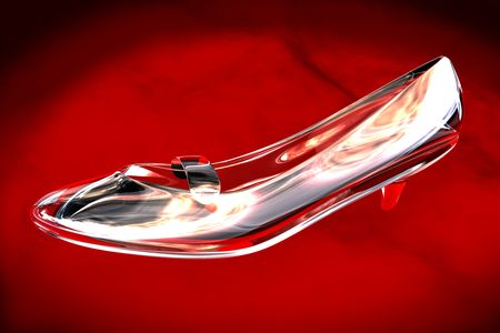 cinderella shoes: Illustration of a glass shoe on red velvet Stock Photo