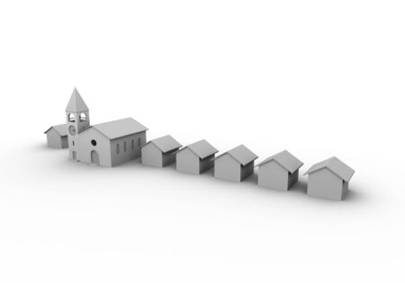 3D render of a village like composition with church and houses Stock Photo - 4358180