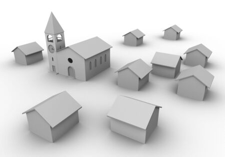 church 3d: 3D render of a village like composition with church and houses