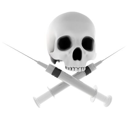 Skull and pirate like cross syringes, isolated on white