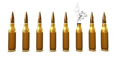 Eight bullets on white background, one of them shot and smoking Stock Photo - 4472293
