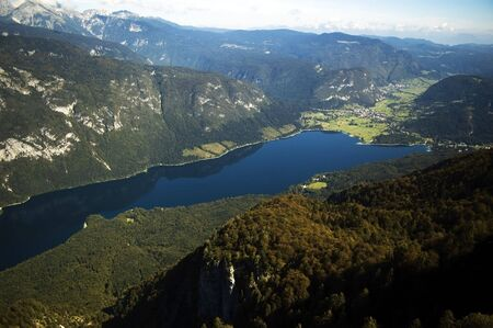 bohinj: Aerial view of the Bohinj lake in Slovenia