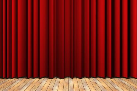 red curtain: Wooden floor stage and a red curtain in the background