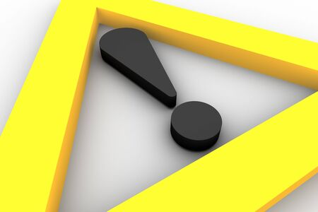 Yellow warning sign on white background Stock Photo