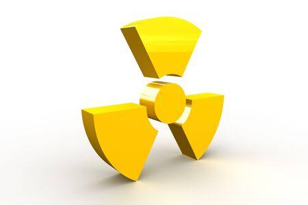 Yellow radioactive symbol on white background Stock Photo - 4546635