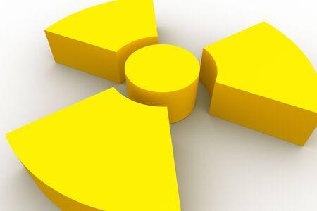 Yellow radioactive symbol on white background photo