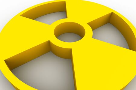 Yellow radioactive symbol on white background Stock Photo - 4546703