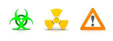 bio hazard: Warning signs for radioactivity, danger and bio hazard on white background