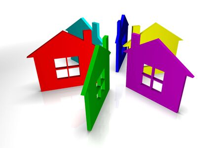 Six colorful houses on white background Stock Photo - 4598455
