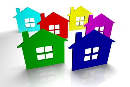 Six colorful houses on white background Stock Photo - 4598458