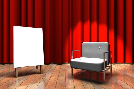 Red curtain stage with a spot light on sofa and blank white canvas on a stand photo