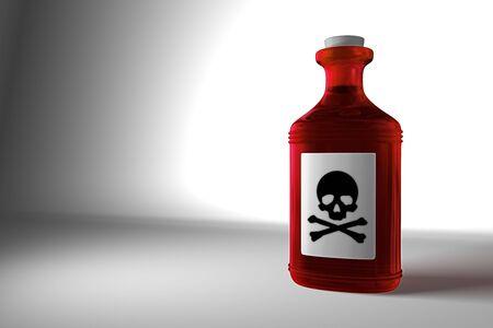 veneno frasco: Ilustraci�n de un color rojo en una botella de veneno gris tel�n de fondo Foto de archivo