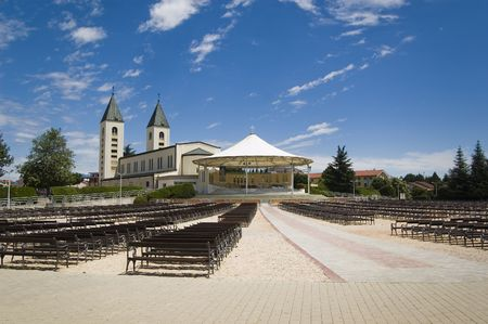 Church in Medjugorje, Bosnia and Herzegovina, Europe with a huge event place and seats Stock Photo