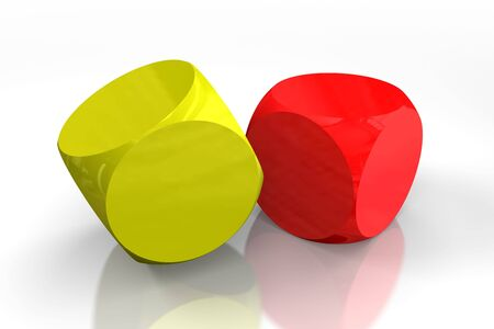 Yellow and red dice on white background, both blank to put on them symbols of your choice