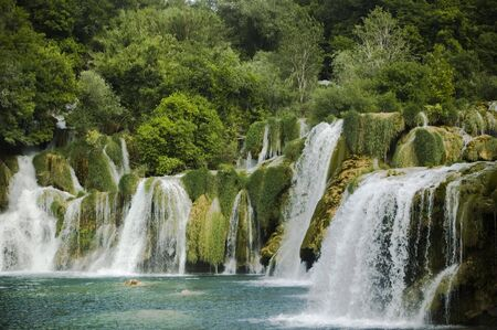 A view on the falls of Krka river in Croatia Stock Photo