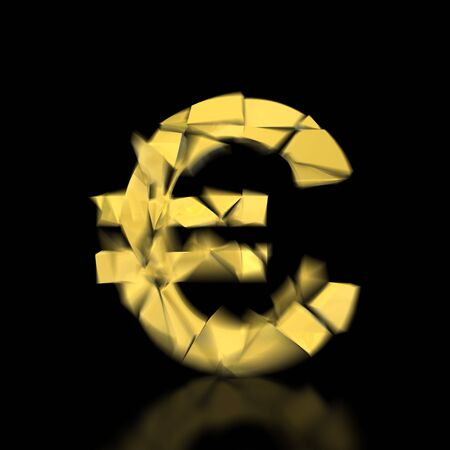 cracking: Cracking golden euro on black background