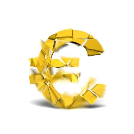 cracking: Cracking golden euro on white background