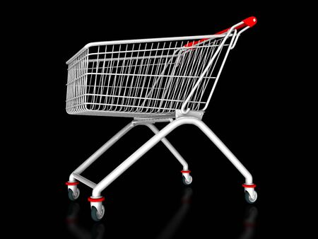 3D illustration of a shopping cart on a black background Stock Photo
